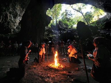 Spiritual leaders perform a Mayan ritual