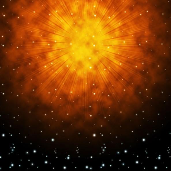 Orange Sky Background Shows Brilliant Stars And Shining